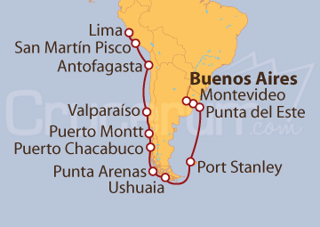 Itinerario Crucero De Buenos Aires (Argentina) a Lima (Perú)