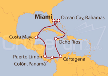 Itinerario Crucero Caribe Sur