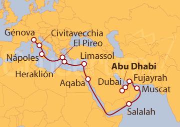 Itinerario Crucero De Abu Dhabi (EAU) a Génova (Italia)