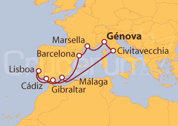 Itinerario Crucero Italia, Francia, España, Gibraltar y Portugal