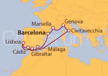 Itinerario Crucero España, Gibraltar, Portugal, Italia y Francia