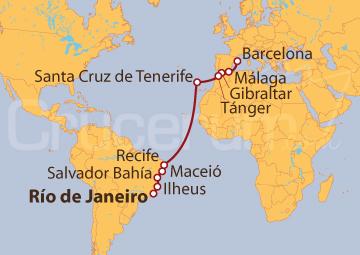 Itinerario Crucero De Río de Janeiro (Brasil) a Barcelona
