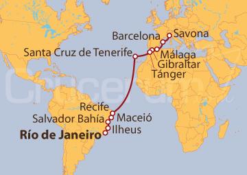 Itinerario Crucero De Río de Janeiro (Brasil) a Savona