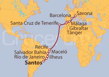 Itinerario Crucero De Santos (Brasil) a Savona