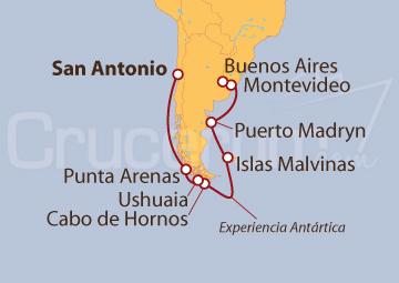 Itinerario Crucero Antártico y Cabo de Hornos
