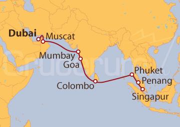 Itinerario Crucero De Dubai (EAU) a Singapur