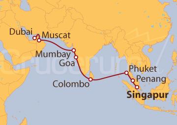 Itinerario Crucero De Singapur a Dubai (EAU)