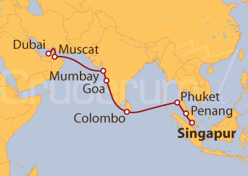Itinerario Crucero Malasia, India, Emiratos Árabes