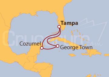 Itinerario Crucero Islas Caimán y Cozumel (México)