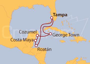 Itinerario Crucero Honduras, México e Islas Caimán