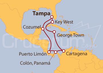 Itinerario Crucero Caribe Sur desde Tampa (EE UU)
