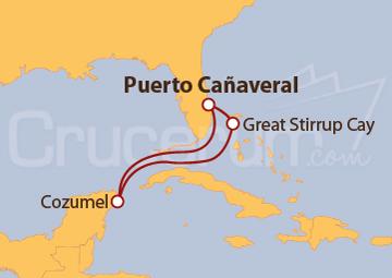 Itinerario Crucero Cozumel y Bahamas desde Puerto Cañaveral