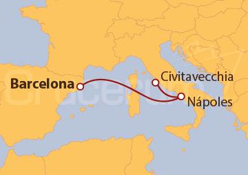 Itinerario Crucero Mediterráneo Occidental desde Barcelona