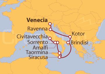 Itinerario Crucero Adriático y Mediterráneo