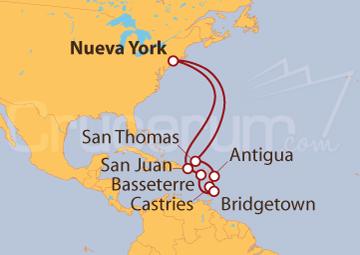 Itinerario Crucero Caribe Sur desde Nueva York (EE UU)