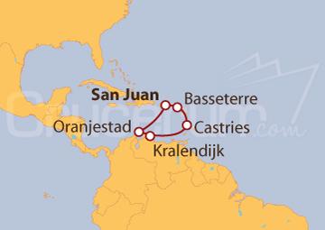 Itinerario Crucero Caribe Sur desde San Juan (Puerto Rico)