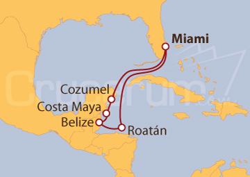 Itinerario Crucero Caribe Occidental desde Miami (EE UU)