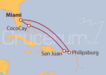 Itinerario Crucero Miami, Puerto Rico y Bahamas