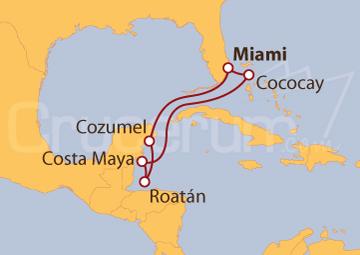 Itinerario Crucero Miami, México, Honduras y Bahamas