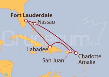 Itinerario Crucero De Miami a Bahamas y Puerto Rico