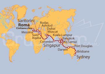 Itinerario Crucero Vuelta al mundo: de Civitavecchia a Sídney