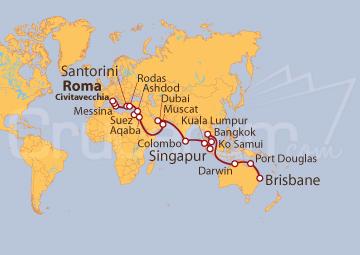 Itinerario Crucero Vuelta al mundo: De Civitavecchia a Australia