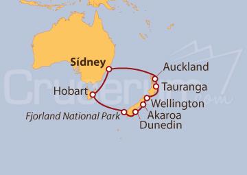 Itinerario Crucero Sídney, Hobart y Nueva Zelanda