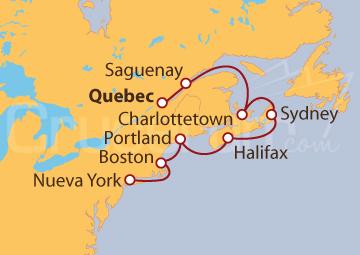 Itinerario Crucero Canada y Estados Unidos