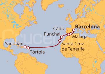 Itinerario Crucero De Barcelona a San Juan (Puerto Rico)