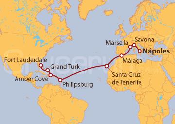 Itinerario Crucero De Nápoles  a Fort Lauderdale (EE UU)