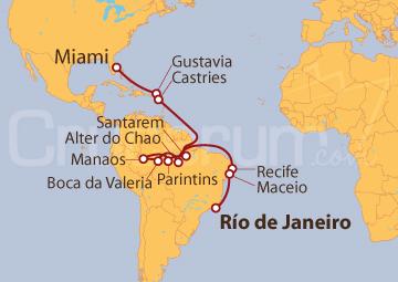 Itinerario Crucero El Amazonas y el Atlántico