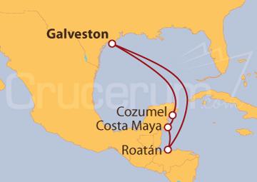 Itinerario Crucero De Galveston a México y Honduras