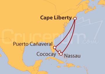 Itinerario Crucero Estados Unidos y las Bahamas