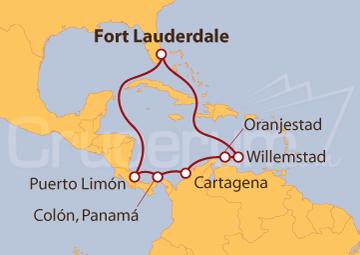 Itinerario Crucero Costa Rica, Panamá, Colombia y Antillas Holandesas