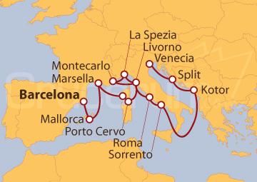Itinerario Crucero Mediterráneo desde Barcelona y Adriático hasta Venecia