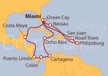 Itinerario Crucero Caribe Occidental y Oriental