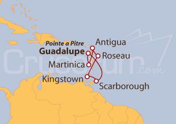 Itinerario Crucero Antillas desde Guadalupe