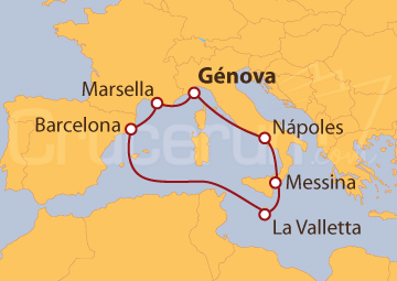 Itinerario Crucero Mediterráneo desde Génova