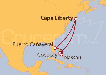 Itinerario Crucero Estados Unidos y Bahamas
