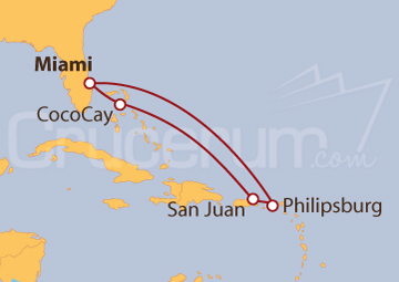 Itinerario Crucero Desde Miami a Puerto Rico