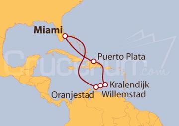 Itinerario Crucero Caribe Sur desde Miami (EE UU)