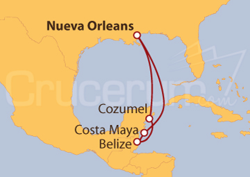 Itinerario Crucero Caribe Occidental