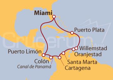 Itinerario Crucero Canal de Panamá desde Miami (EE UU)