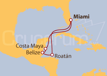 Itinerario Crucero Caribe Occidental desde Miami (EE UU)