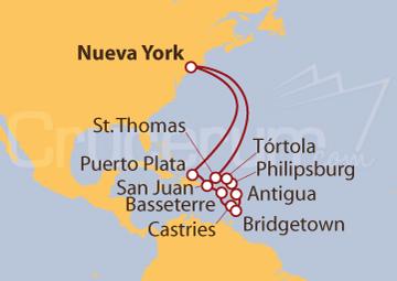 Itinerario Crucero Caribe Oriental desde Nueva York (EE UU)