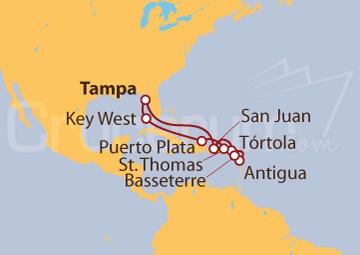 Itinerario Crucero Caribe Oriental desde Tampa (EE UU)