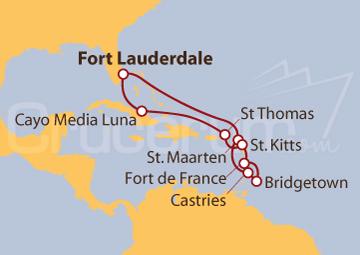 Itinerario Crucero Caribe Oriental desde Fort Lauderdale (EE UU)