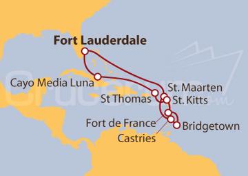 Itinerario Crucero Viajero del Caribe Sur
