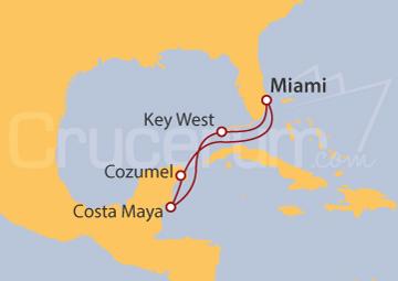 Itinerario Crucero Caribe Occidental desde Miami