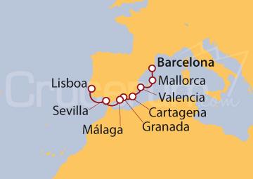 Itinerario Crucero De Barcelona a Lisboa